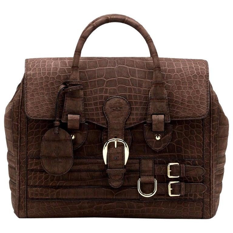 Gucci Exotic Matte Brown Crocodile XL Top Handle Bag Tote Weekender For Sale