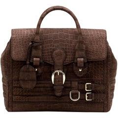 Gucci Exotic Matte Brown Crocodile XL Top Handle Bag Tote Weekender