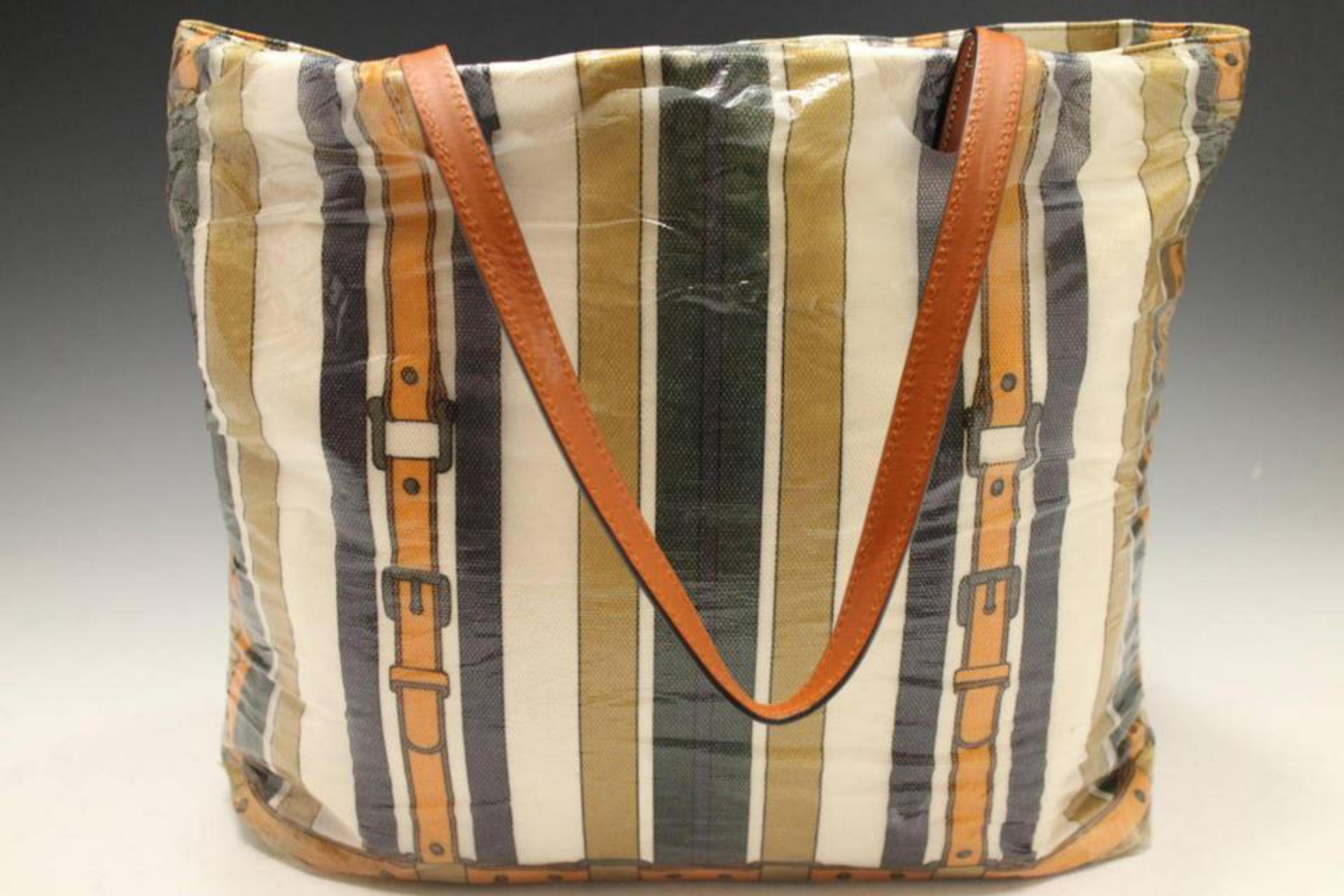 cfea4f27931 Gucci Extra Large Striped Belt Motif Travel 230985 Beige Coated Canvas Tote  For Sale at 1stdibs