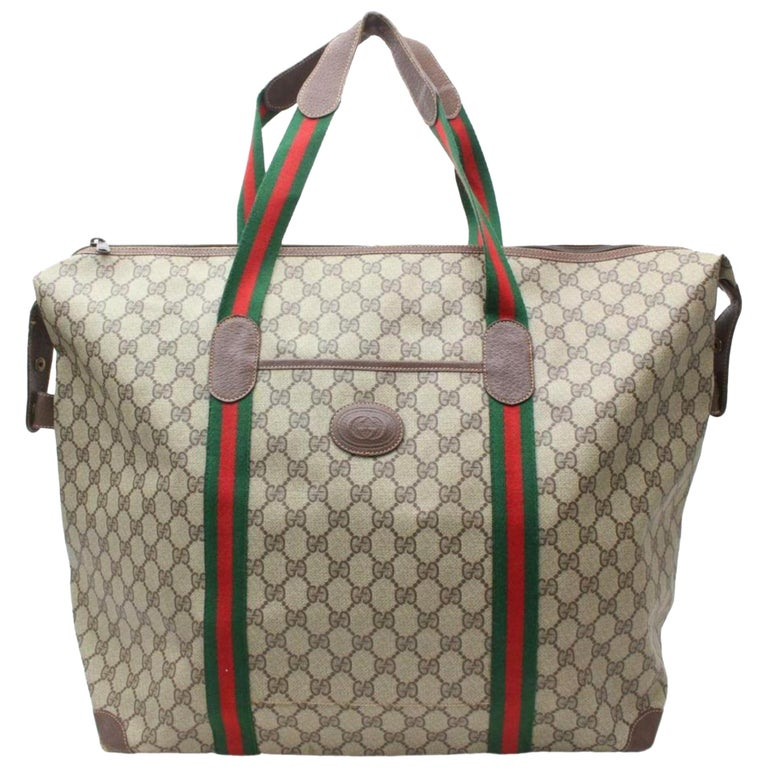 4e912752e Gucci Extra Large Supreme Sherry Duffle Tote 870253 Brown Canvas Travel Bag  For Sale