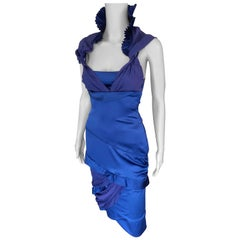 Gucci F/W 2005 Runway Plunging Neckline Cutout Back Silk Blue Dress