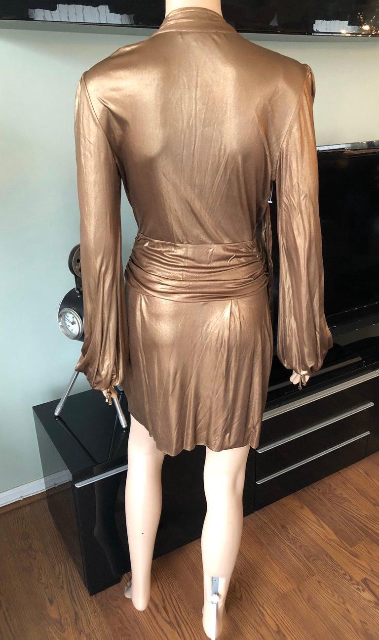 Women's or Men's Gucci F/W 2006 Runway Plunging Neckline Gold Metallic Mini Dress For Sale