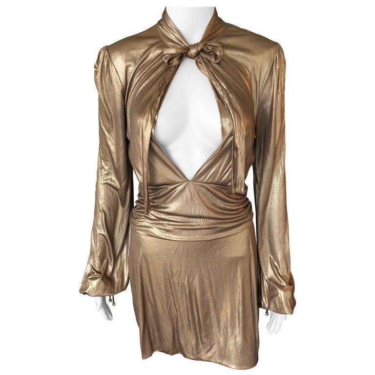 Gucci F/W 2006 Runway Plunging Neckline Gold Metallic Mini Dress For Sale