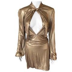 Gucci F/W 2006 Runway Plunging Neckline Gold Metallic Mini Dress