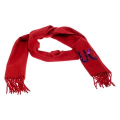 Gucci Flame Red Cashmere Silk Guccy Sequined Applique Scarf
