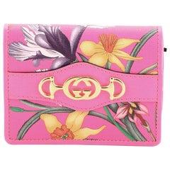 Gucci Flap Card Case Flora Leather