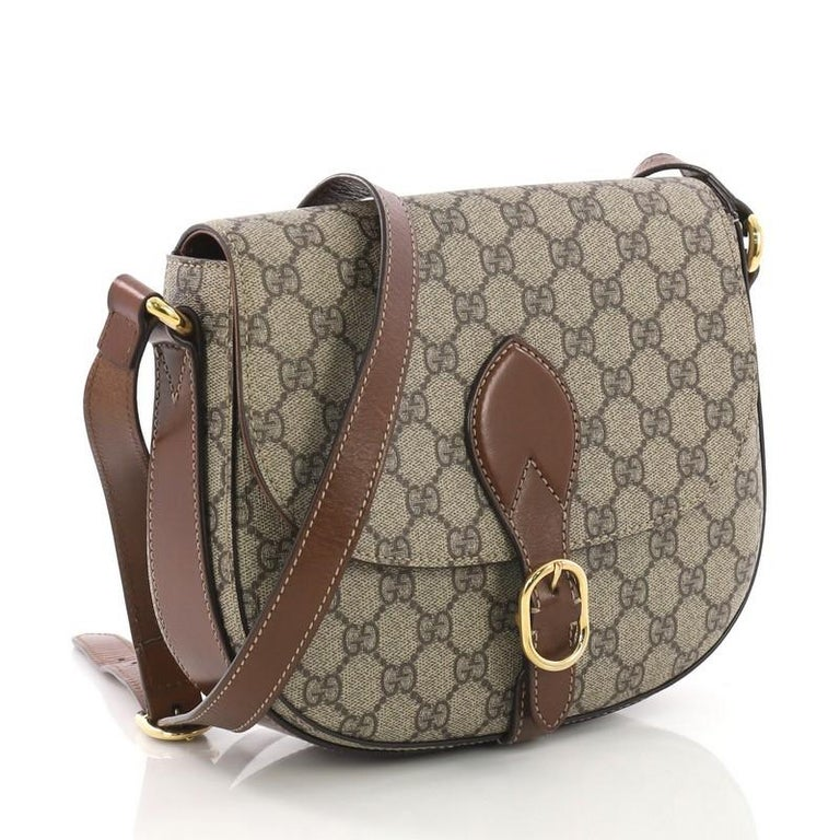 Gray Gucci Flap Saddle Bag GG Coated Canvas Small