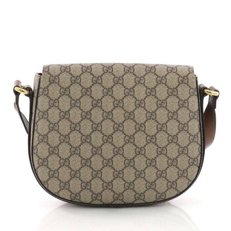 Gucci Flap Saddle Bag GG Coated Canvas Small In Good Condition In New York, NY