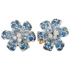 Gucci Flora 18 Karat White and Yellow Gold Diamond and Sapphire Stud Earrings