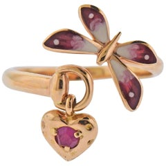 Gucci Flora Butterfly Daisy Rose Gold Enamel Ruby Charm Ring