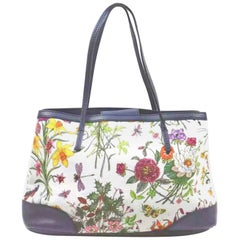 Gucci Flora Canvas Leather Trim Navy Blue With Flowers  Tote Handbag 1705189