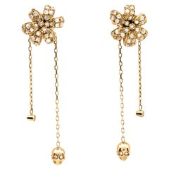 Gucci Flora Diamond Mother of Pearl 18K Yellow Gold Tassel Earrings