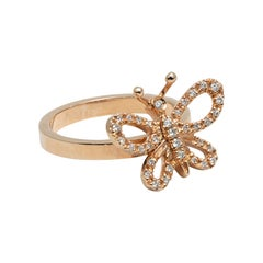 Gucci Flora Farfalla Movable Butterfly Pavé Diamond and Gold Ring