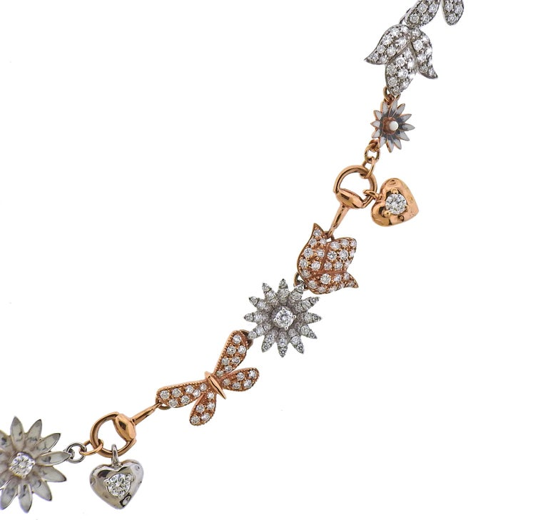 Round Cut Gucci Flora Gold Diamond Necklace Limited Edition For Sale