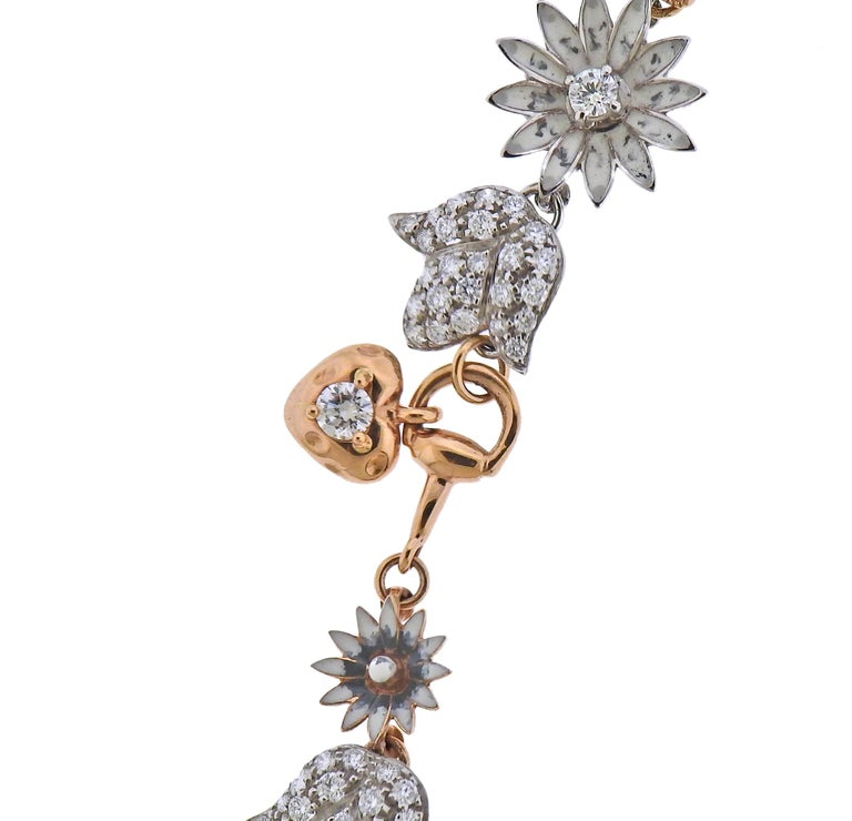 Women's Gucci Flora Gold Diamond Necklace Limited Edition For Sale