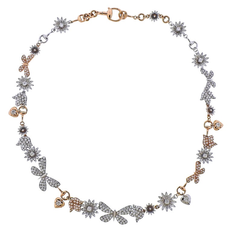 Gucci Flora Gold Diamond Necklace Limited Edition For Sale