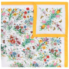 Gucci Flora Large Printed Cotton Shawl Yellow Border