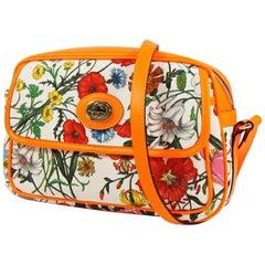 GUCCI Flora Print Womens shoulder bag 550147 neon orange x white