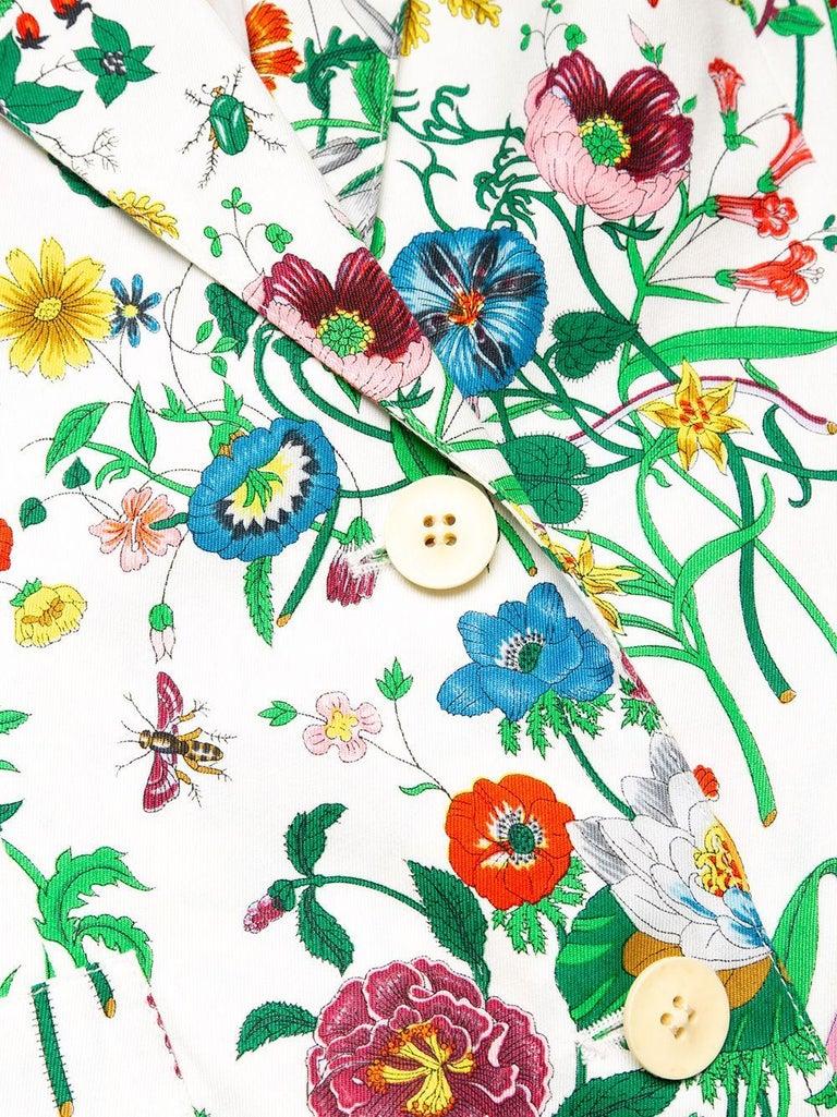Beige Gucci Flora Printed Cotton Blazer Jacket For Sale