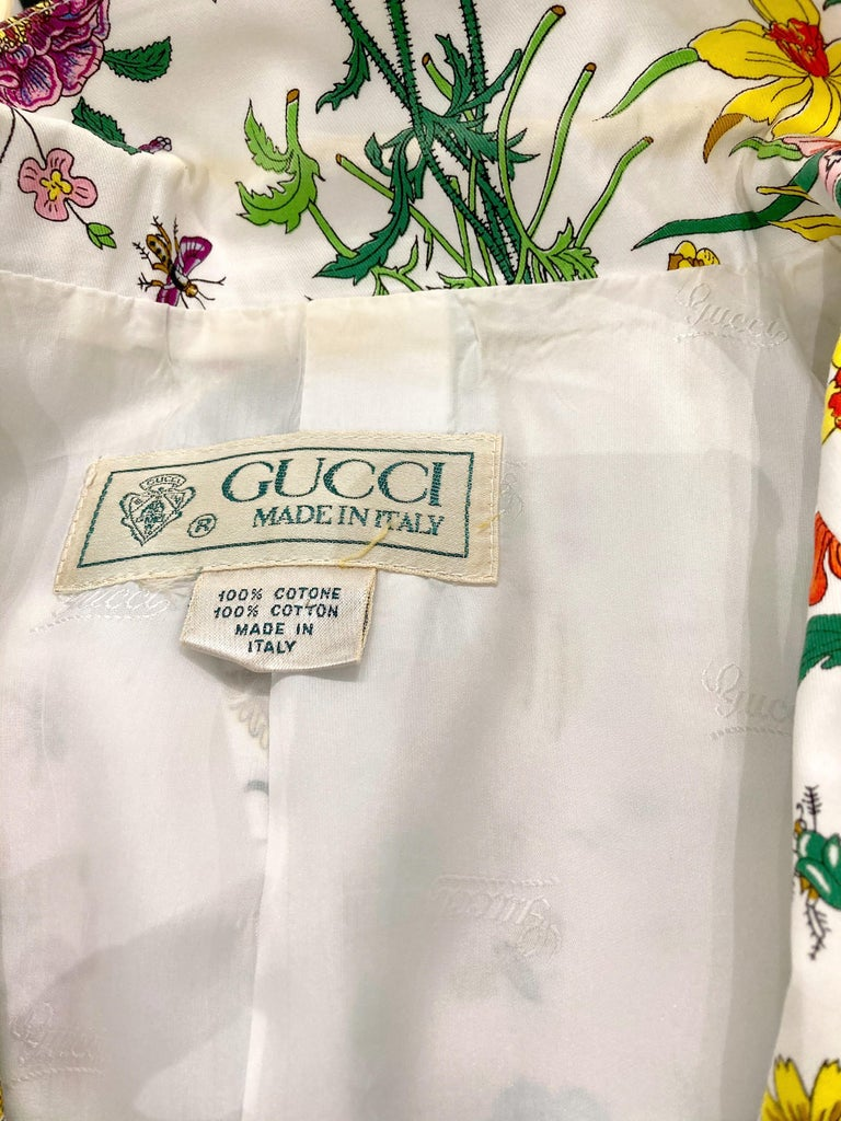 Women's or Men's Gucci Flora Printed Cotton Blazer Jacket For Sale