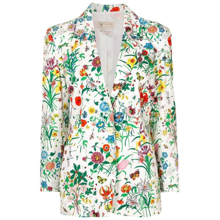 Gucci Flora Printed Cotton Blazer Jacket For Sale