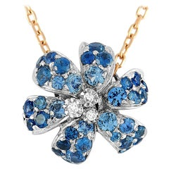 Gucci Flora Rose and White Gold Diamond and Sapphire Necklace