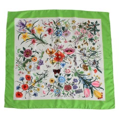 Gucci Flora Silk Scarf by Vittorio Accornero 34in Iconic Vintage Accessory Italy