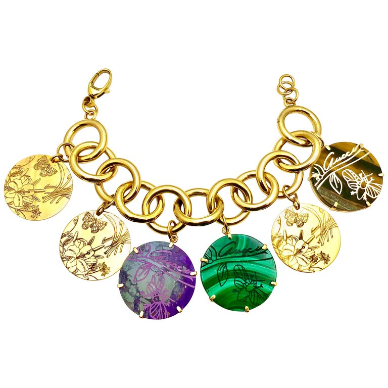 abd9a0937 Gucci Flora St. Tropez Malachite Sugilite and Tiger's Eye Yellow Gold  Bracelet For Sale