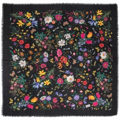 GUCCI Flora Vittorio Accornero Huge Multi Colored Floral Print Black Wool Scarf