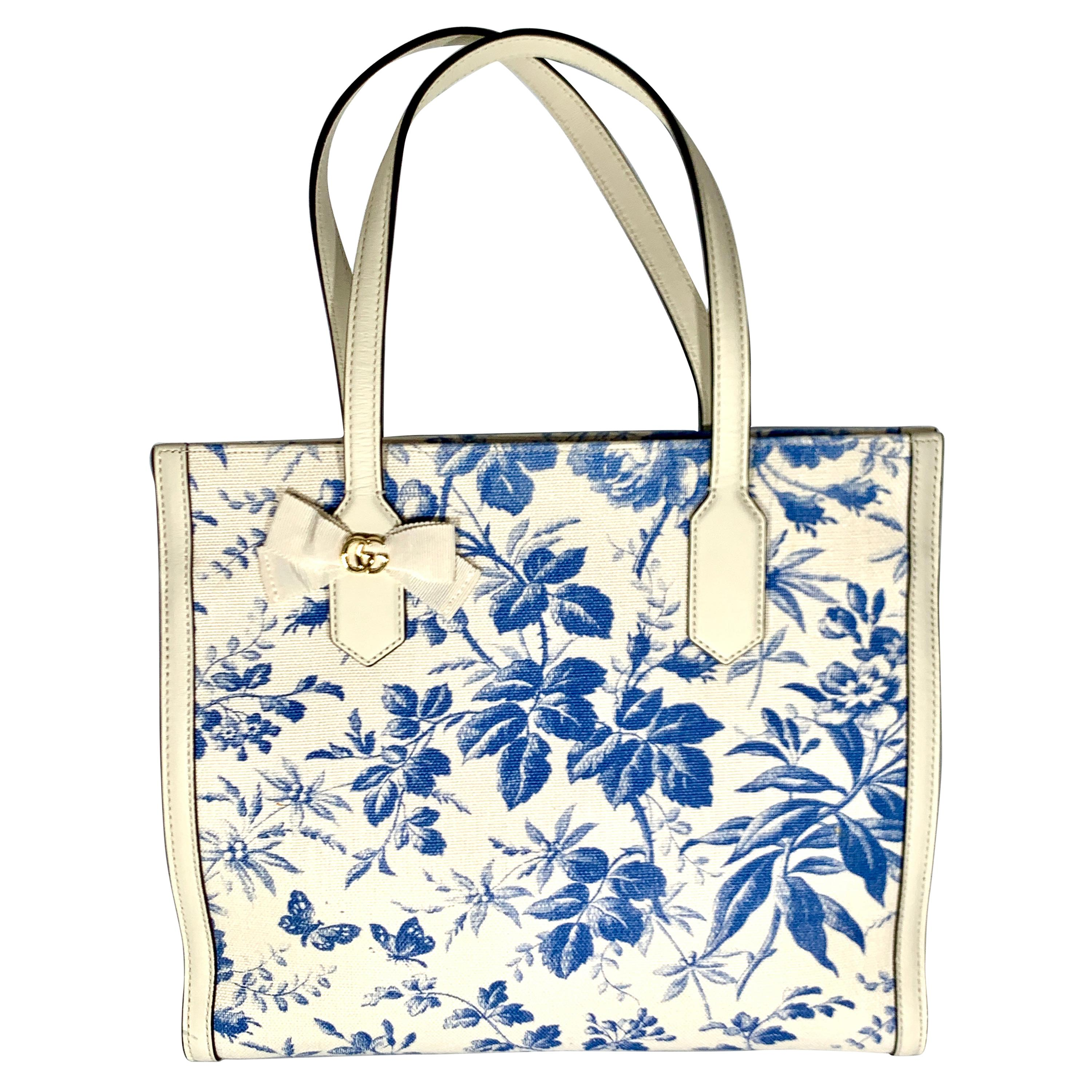Gucci Flora Whites Canvas Leather Trim Navy Blue With Flowers  Tote Handbag