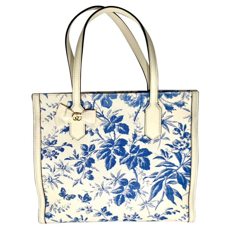 Gucci Flora Whites Canvas Leather Trim Navy Blue With Flowers  Tote Handbag  For Sale