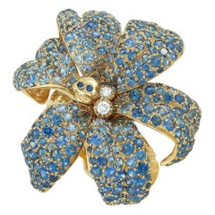 Gucci Flora Yellow Gold Diamond and Blue Sapphire Orchid Ring