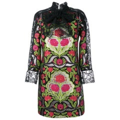 GUCCI Floral Brocade and Lace Dress IT40 US 2-4
