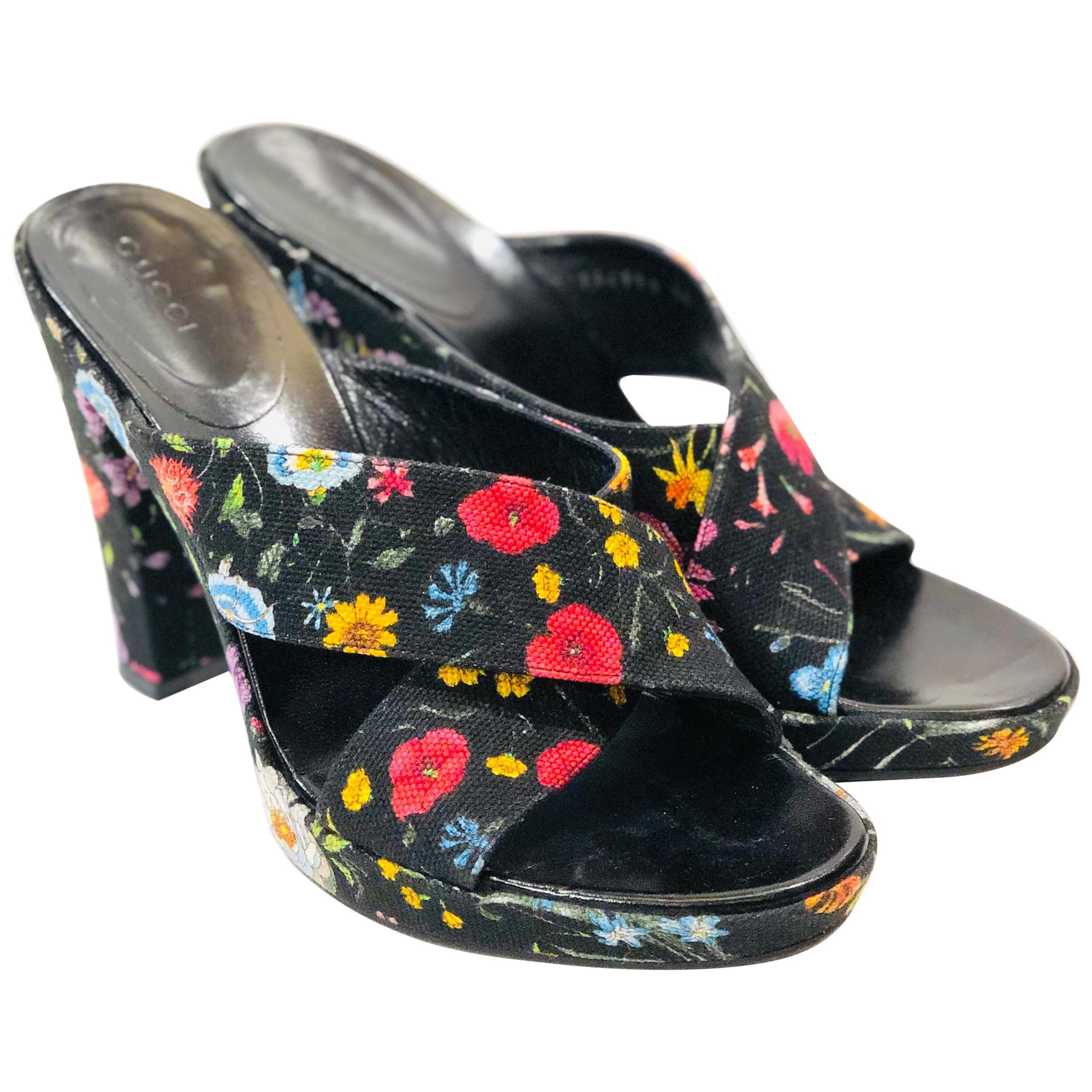 Gucci Floral Canvas Sandals Mules