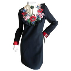 Gucci Floral Embellished Little Black Dress by Alessandro Michele