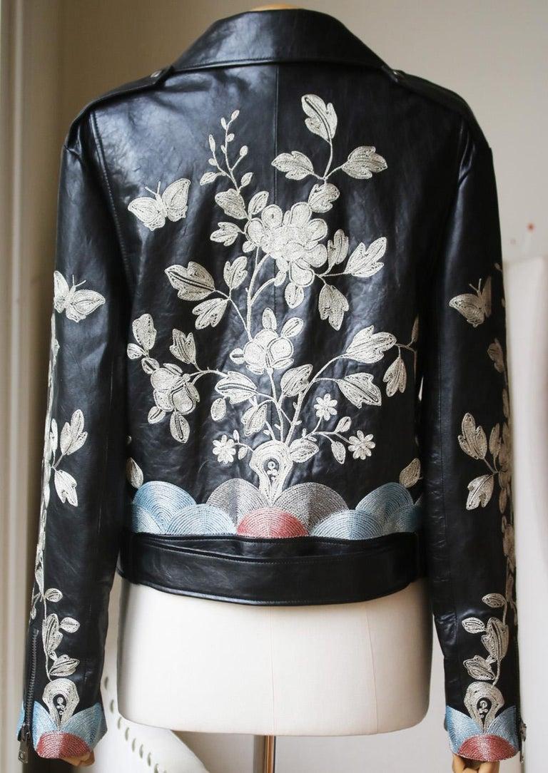 Black Gucci Floral-Embroidered Leather Biker Jacket  For Sale