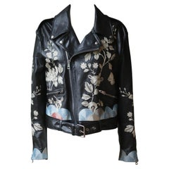 Gucci Floral-Embroidered Leather Biker Jacket
