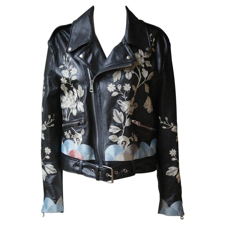 Gucci Floral-Embroidered Leather Biker Jacket  For Sale