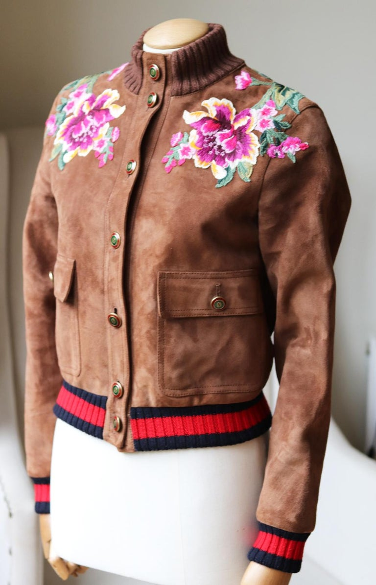 Brown Gucci Floral-Embroidered Suede Bomber Jacket