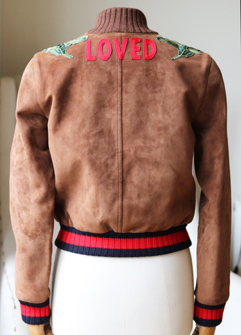 Gucci Floral-Embroidered Suede Bomber Jacket In Excellent Condition In London, GB