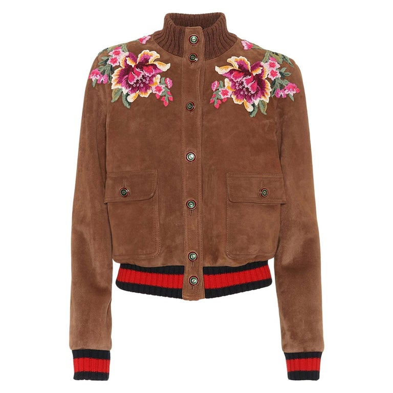 Gucci Floral-Embroidered Suede Bomber Jacket