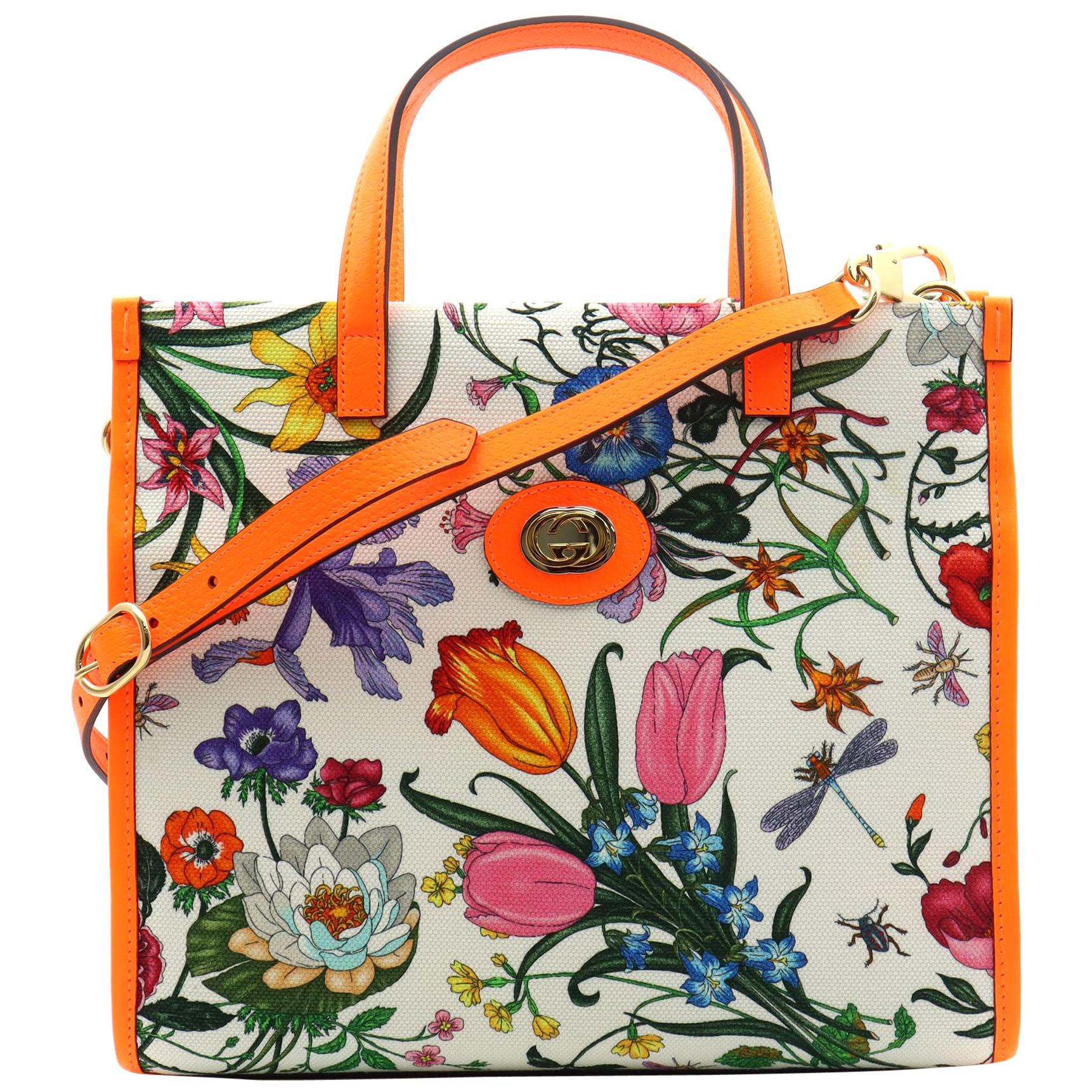 Gucci Floral Medium Orange Leather Trimmed Printed Canvas Tote Bag