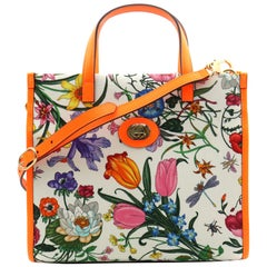 Gucci Floral Medium Orange Leather Trimmed Printed Canvas Tote Bag