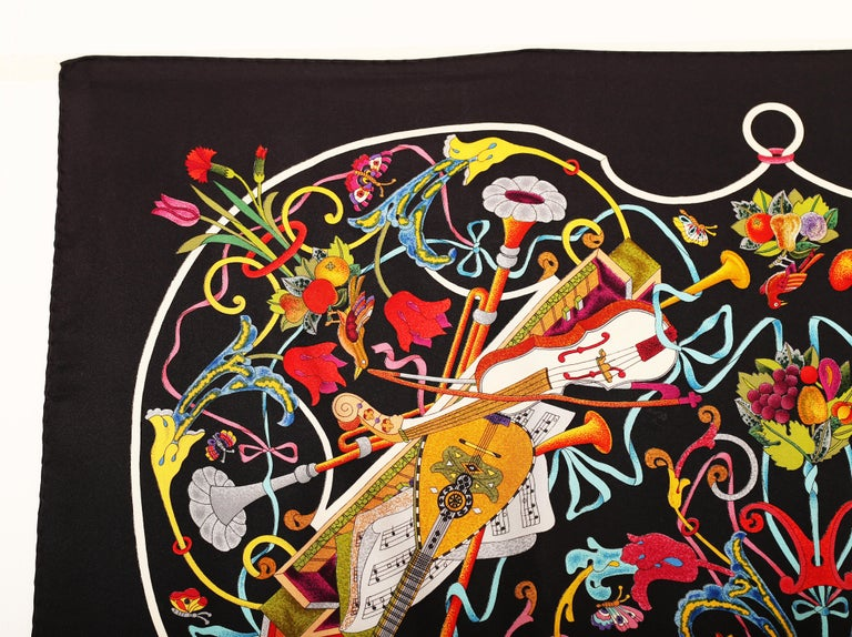 Black Gucci Floral Music String Instrument Silk Scarf 1990 For Sale