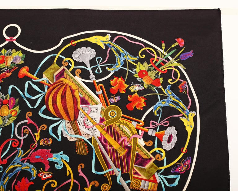 Women's or Men's Gucci Floral Music String Instrument Silk Scarf 1990 For Sale