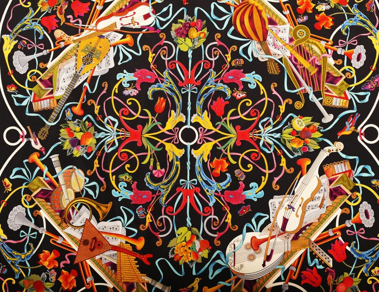 Gucci Floral Music String Instrument Silk Scarf 1990 For Sale 1