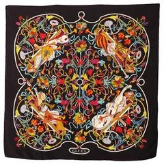 Gucci Floral Music String Instrument Silk Scarf 1990