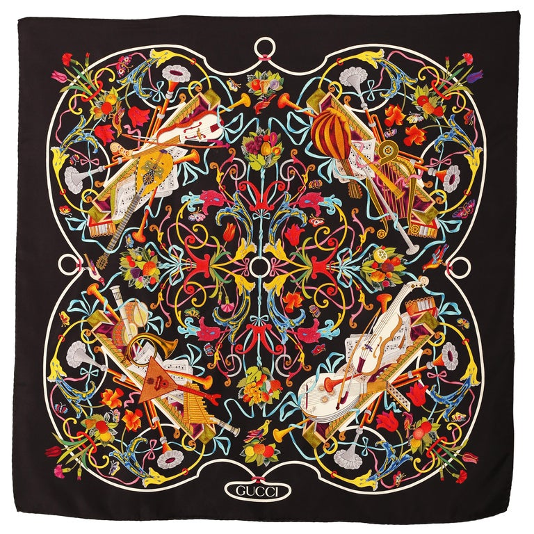 Gucci Floral Music String Instrument Silk Scarf 1990 For Sale
