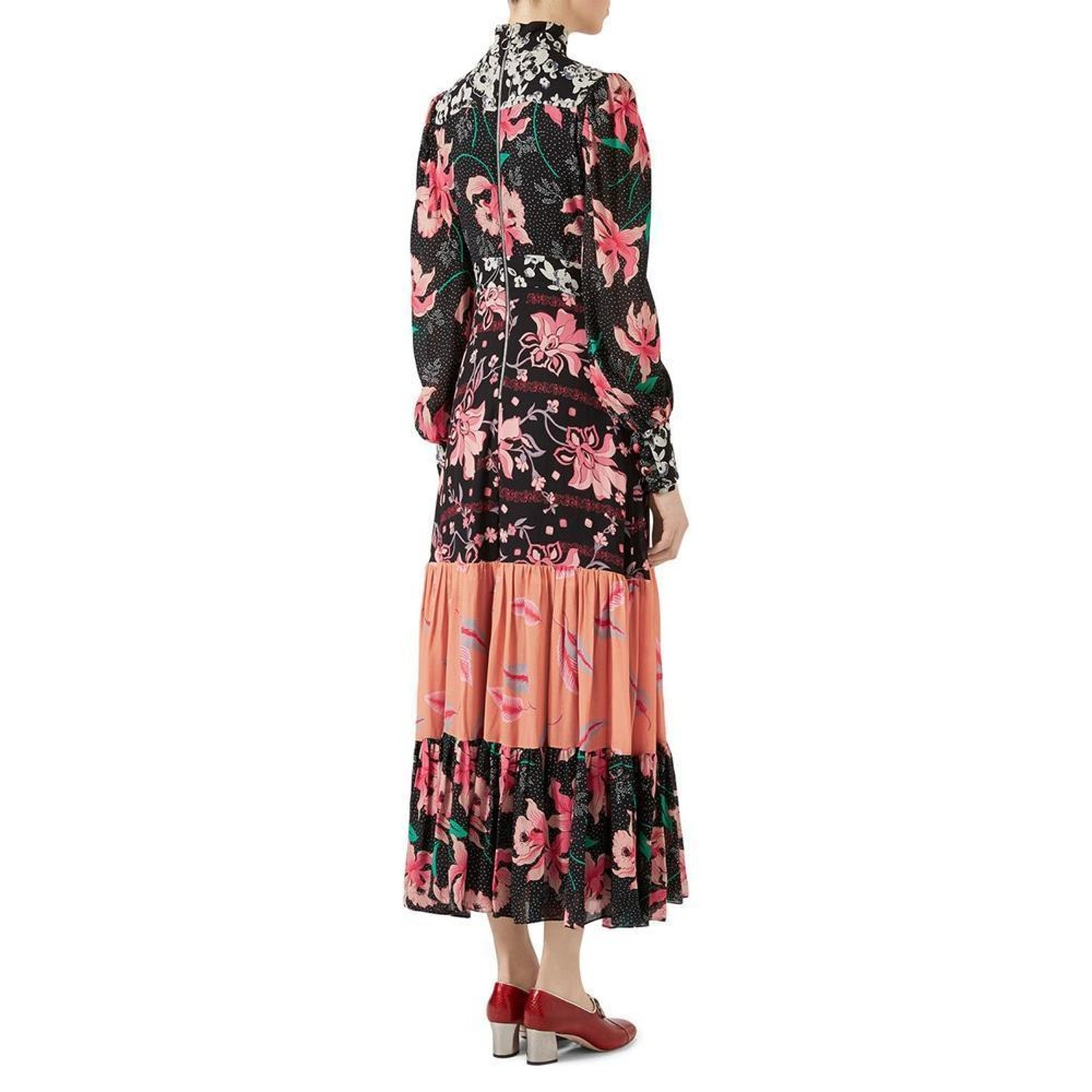 f076c0f40 GUCCI Floral Patchwork Stand Collar Crepe Dress IT44 US 8-10 For Sale at  1stdibs