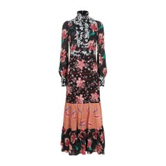 GUCCI Floral Patchwork Stand Collar Crepe Dress IT44 US 8-10